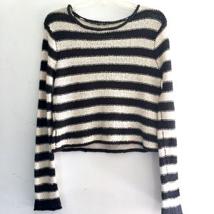 Free People Beach Black & White Pullover Sweater